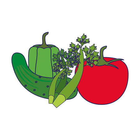 Fresh vegetables healthy food cartoon vector illustration graphic design Иллюстрация