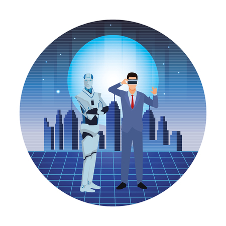 humanoid robot and businessman wearing virtual reality headset futuristic cityscape round icon vector illustration graphic design Illustration