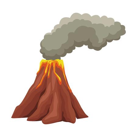 Volcano with lava cartoon vector illustration graphic design