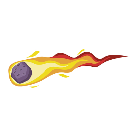 meteor on fire cartoon vector illustration graphic design