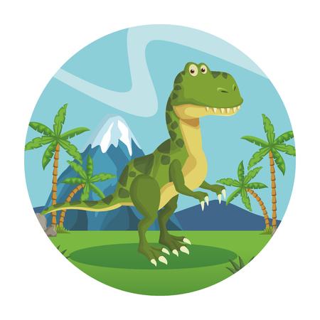 tyrannosaur dinosaur cartoon at nature round icon vector illustration graphic design