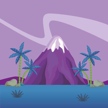 Vulcano at nature scenery vector illustration graphic design