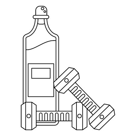 Healthy lifestyle and weight loss olive oil bottle and dumbbells vector illustration graphic design