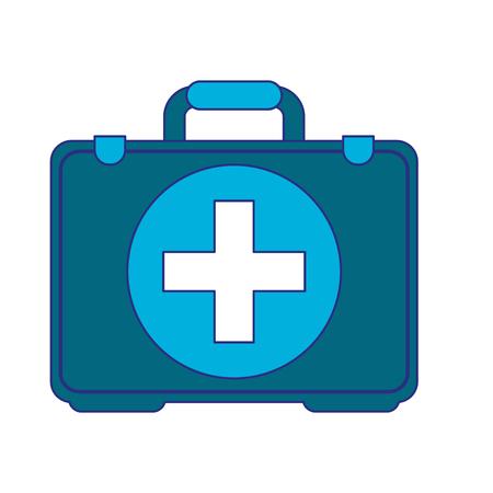 Medical first aids suitcase symbol vector illustration graphic design
