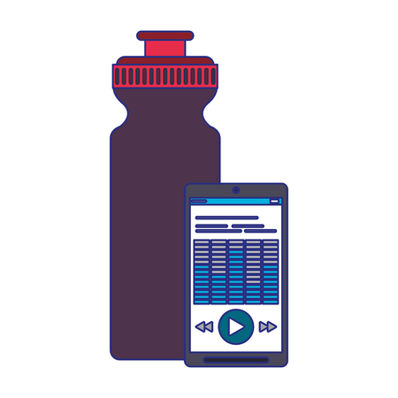 Smartphone with music and water bottle vector illustration graphic design Illustration