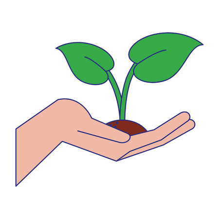 Hand with plant cartoon vector illustration graphic design