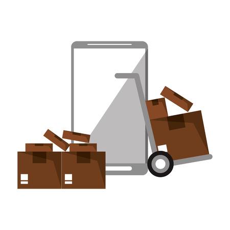 Online delivery from smartphone symbol vector illustration graphic design