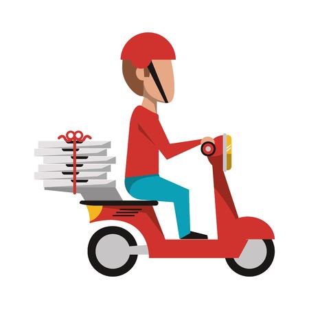 Courier conduciendo scooter con pizzas ilustración vectorial diseño gráfico