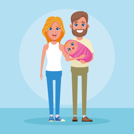 Family with kids parents with only son cartoon vector illustration graphic design Imagens - 124025487