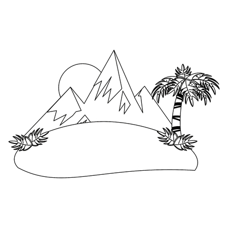 Mountains and palm with sun landscape vector illustration graphic design