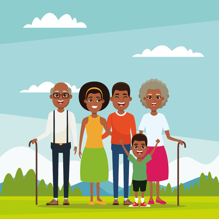 Family with at nature park outdoors kids cartoon vector illustration graphic design Illustration