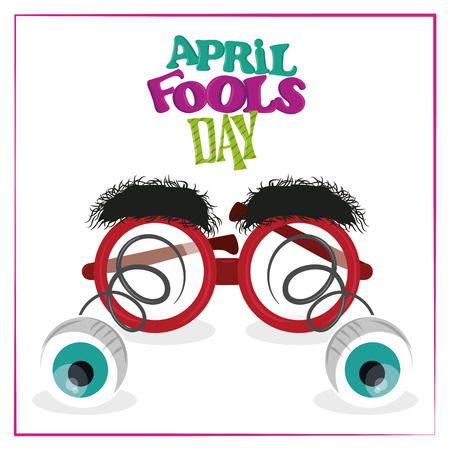April fools day card with joke cartoons vector illustration graphic design