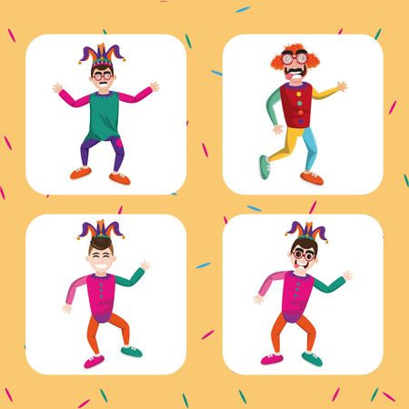 April fools day collection cartoons square frames   vector illustration graphic design Illustration