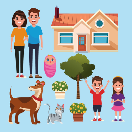 Family and home cartoons collection set vector illustration graphic design
