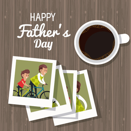 Happy fathers day card with cute family cartoons vector illustration graphic design