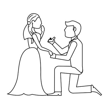 Conception graphique d'illustration de vecteur de dessin animé de proposition de couple de mariage Vecteurs