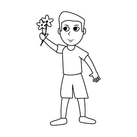Boy with flowers cartoons vector illustration graphic design