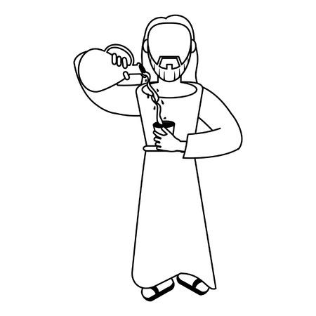 jesuschrist man with water and wine cartoon vector illustration graphic design