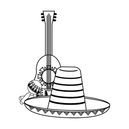 Mexico culture and symbols cartoons vector illustration graphic design