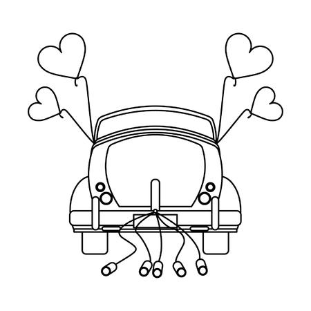 Wedding vintage car backward with cans vector illustration graphic design Ilustración de vector