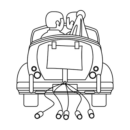 Wedding couple in vintage car with cans backward vector illustration graphic design