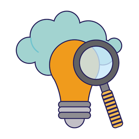 Magnifying glass on bulb light with cloud vector illustration graphic design Illusztráció