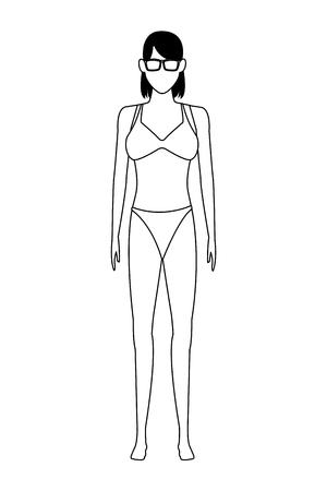 woman wearing swimwear and sunglasses avatar cartoon character black and white vector illustration graphic design Ilustração