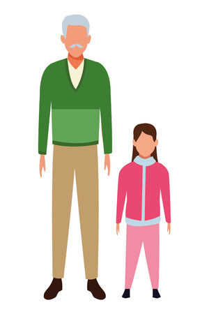 old man and child avatars wearing winter clothes vector illustration graphic design