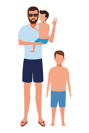 men with children avatar wearing summer clothes sunglasses cartoon character vector illustration graphic design Ilustração
