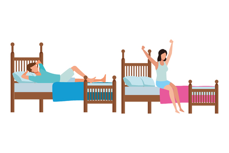 twin bed dormitory and faceless people vector icon illustration graphic design