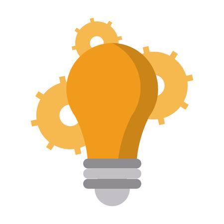 Bulb light and gears symbols vector illustration graphic design