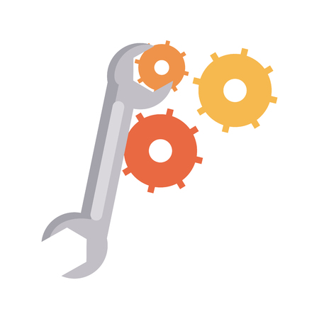 Wrench with gears symbol vector illustration graphic design Vector Illustration