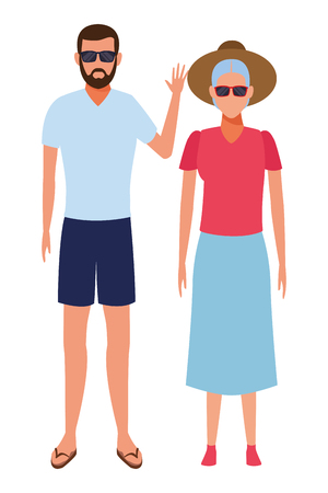 old woman and young man avatar wearing summer clothes sunglasses cartoon character vector illustration graphic design Ilustração