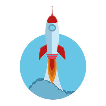 rocket taking off cartoon vector illustration graphic design 矢量图像