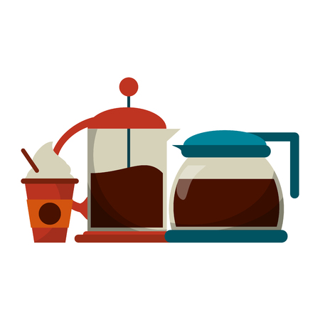 Coffee kettle and frenchpress with cup to go vector illustration graphic design Ilustracja
