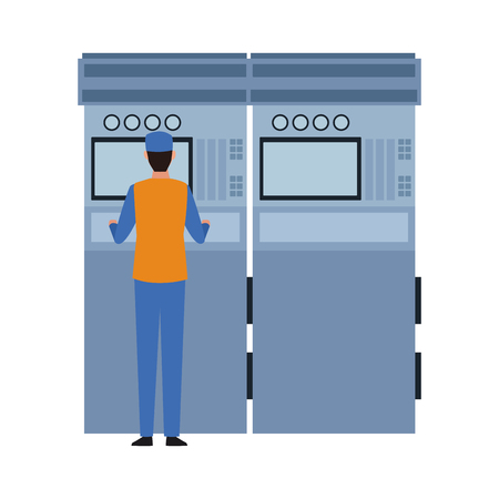 industry manufacturing worker with machine cartoon vector illustration graphic design