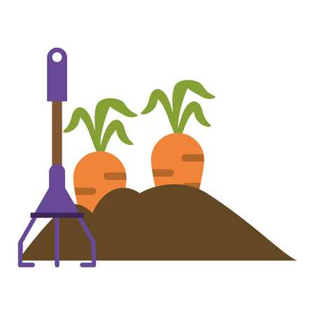 Garden with carrots and rake vector illustration graphic design Stock Illustratie