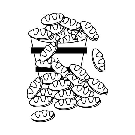 Breads in bucket cartoon vector illustration graphic design