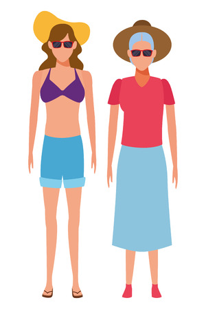 old woman and young woman avatar wearing summer clothes swimweear and sunglasses vector illustration graphic design Ilustração