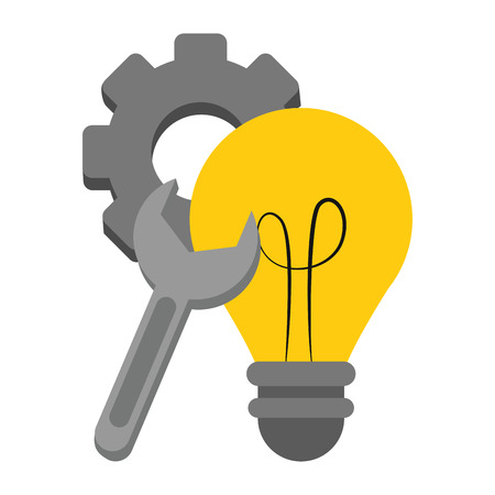 Bulb light gear and wrench vector illustration graphic design