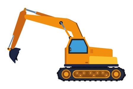 Construction vehicle backhoe machine vector illustration graphic design Vetores