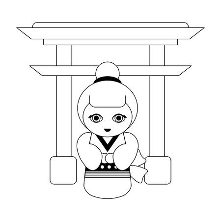 Japanese girl on arch symbol cartoon vector illustration graphic design