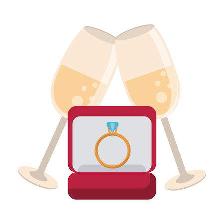 Wedding ring in box with champagne cups isolated vector illustration graphic design Illustration
