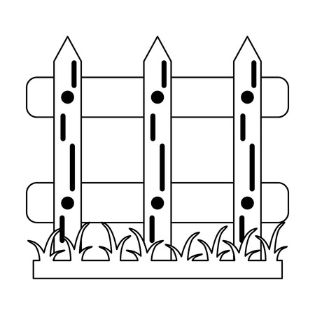 Garden fence with grass cartoon Designe