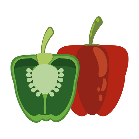 peppers half cut with seeds vegetables vector illustration graphic design