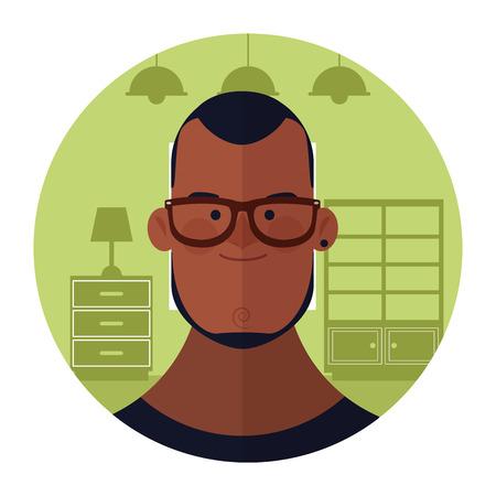 young man with beard face cartoon inside home round icon vector illustration graphic design Ilustração Vetorial