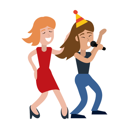 Friends women singing karaoke in birthday party vector illustration graphic design Illustration