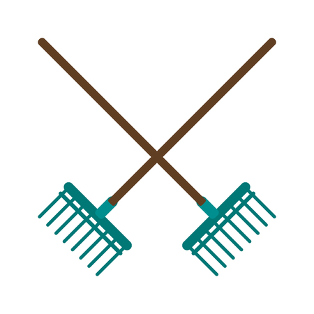 Garden rakes tools crossed