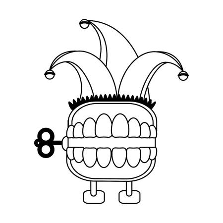 teeth box joke with jester hat cartoon Designe