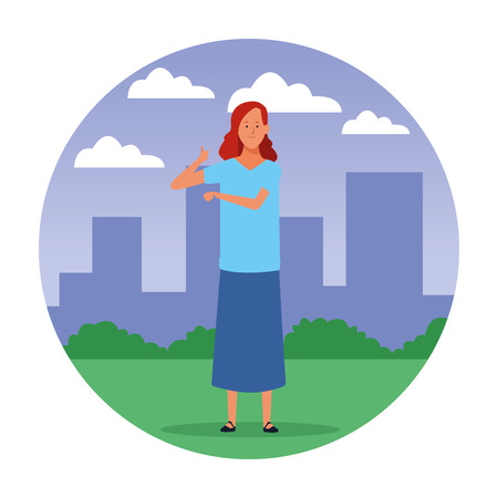 woman avatar cartoon character with thumb up in the city round icon vector illustration garphic design